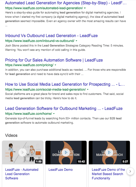 Google leadfuze lead generation results