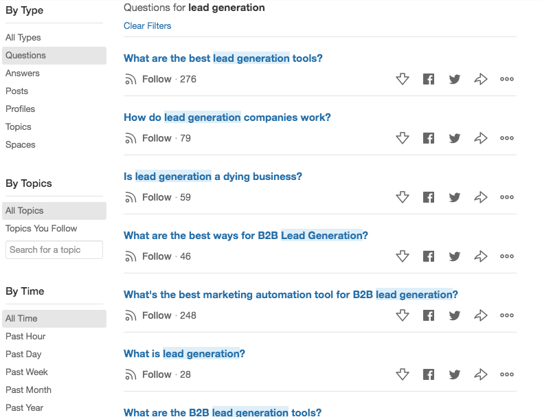 Quora lead generation search
