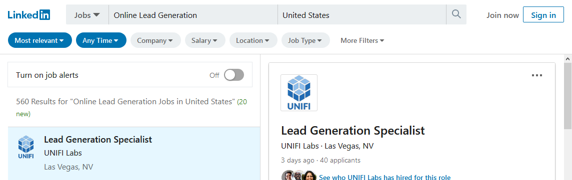 How many lead generation jobs are in United States
