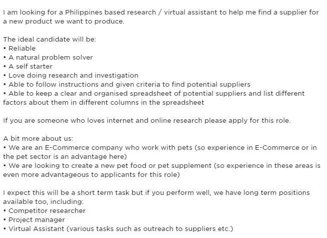 job post sample