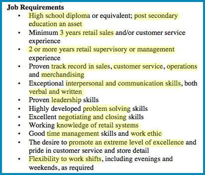 job requirements example
