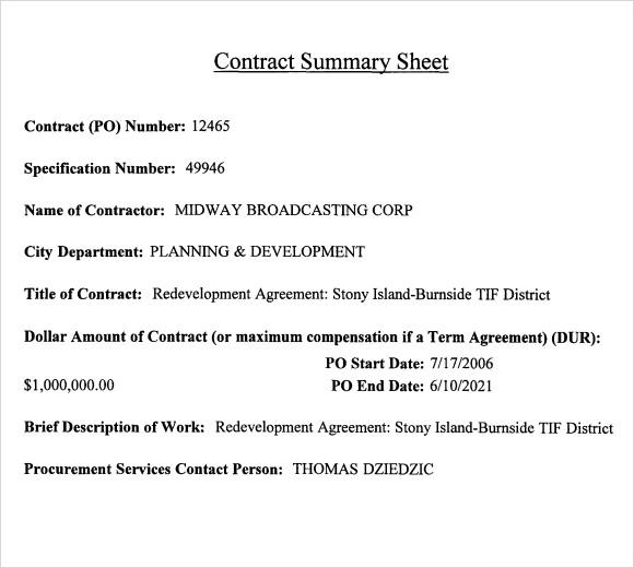 Summary of Agreement Sample