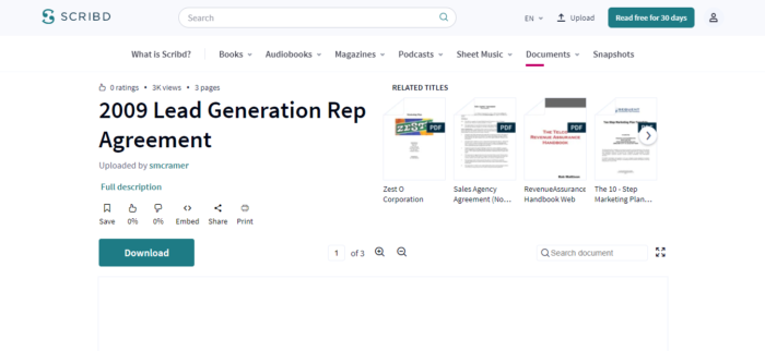Lead Generation Agreement Template